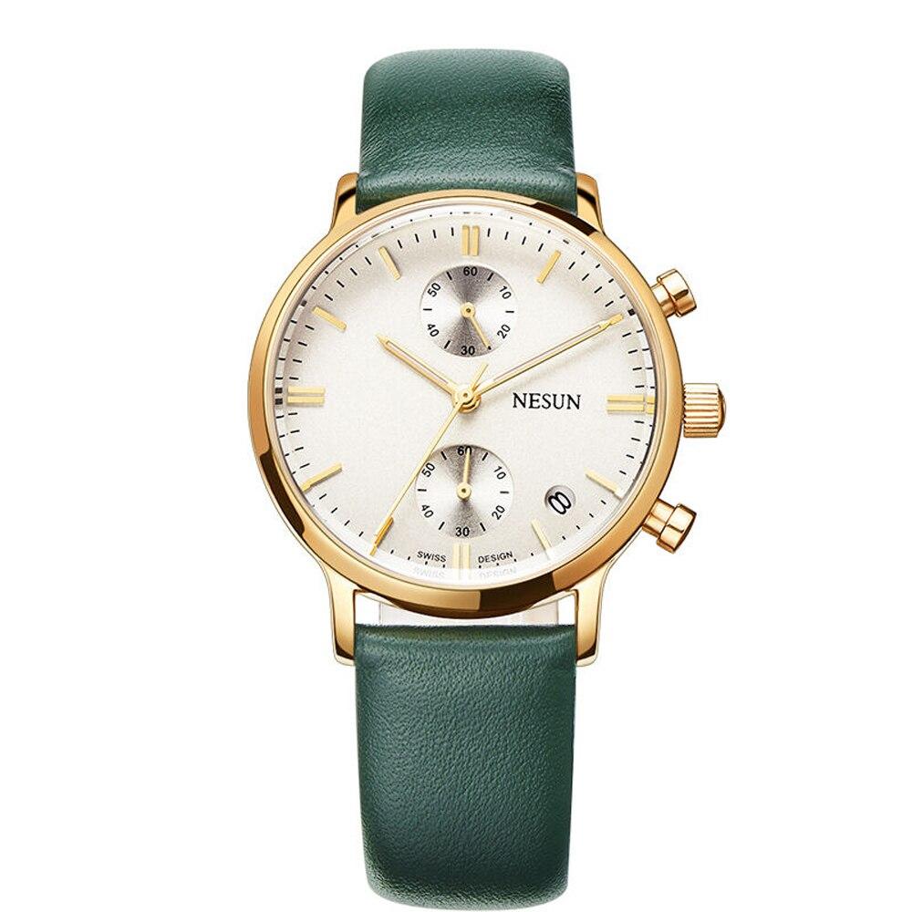 NESUN 8601 Fashion Casual Multifunction Watch Men's Quartz Wristwatch With Calfskin Leather Watch Band
