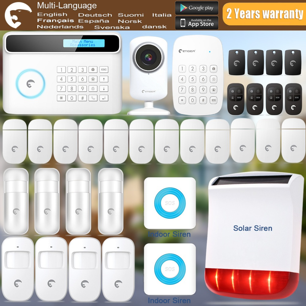 Etiger  Wireless/Wired S4  GSM/SMS Alarm System+Solar Power Strobe Siren+Indoor Strobe Siren+ IP Camera Super Kit