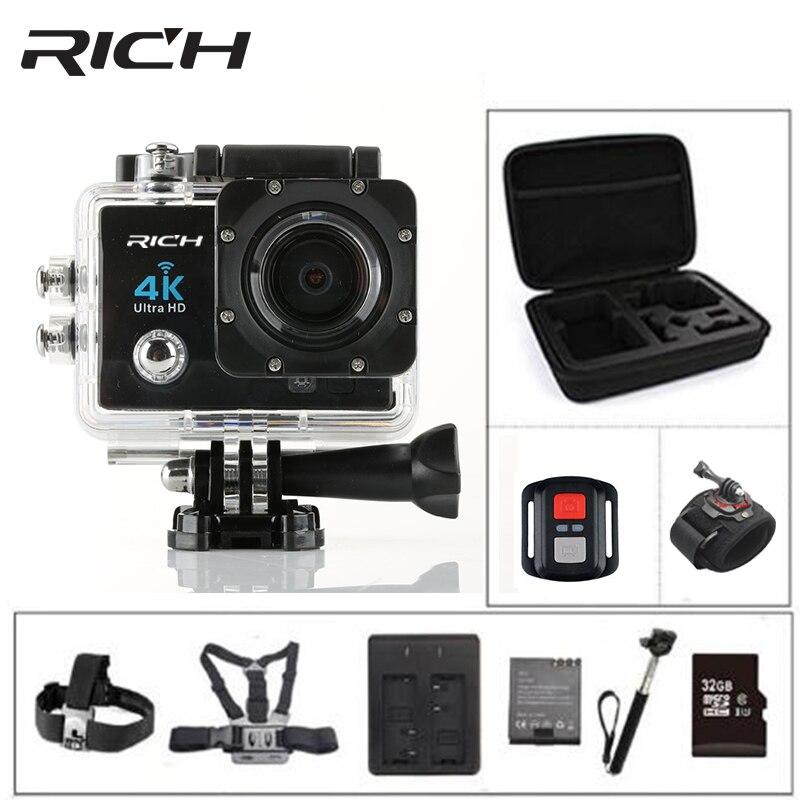 REICHE 4 karat WIFI Action Kamera Ultra HD Q5 30FPS 30 mt 14MP 1080 p 60fps unterwasser wasserdichte kameras gehen helm extreme pro sport cam
