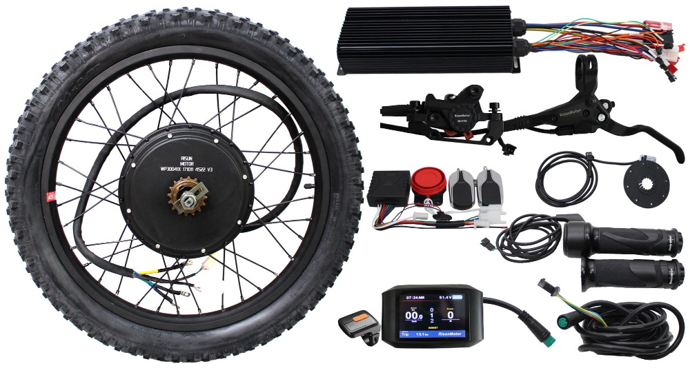 ConhisMotor Free Shipping 36V 48V 60V 72V 2000W Ebike Motor Wheel Kit Single Speed Gear 80A Controller LCD PAS Electric Bicycle