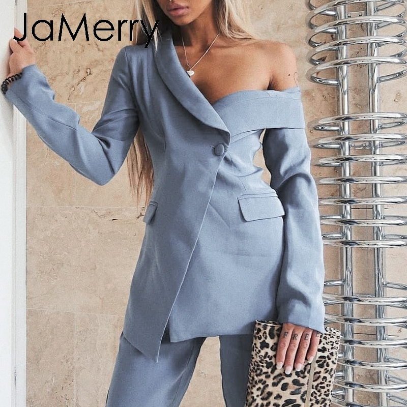 JaMerry Vintage Asymmetrical Sleeve V-neck Blazer Solid Slim Waist Fake Pocket Suit Jacket Women Blazer Office Lady Blazer Coat