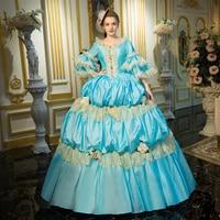 2018 aqua blue Lace Dance 18 век королева викторианская эпоха вечерние платья Marie Antoinette бальное платье для женщин