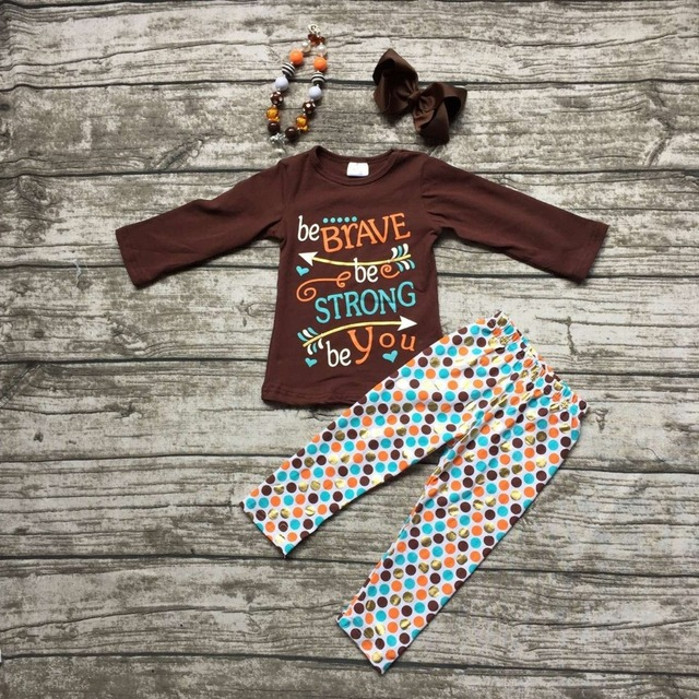 girls thanksgiving outfit kids Fall clothes be BRAVE be STRONG be You pants children boutique polka dot outfits with accessories