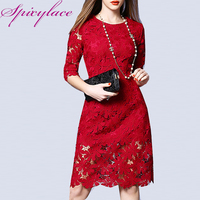 Spicylace Ladies Vintage O neck White Lace Dress Spring Autumn Floral Elegant Wrap Dress Zipper Back Party Midi Lace Dresses