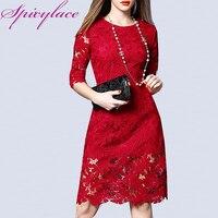 Spicylace Ladies Vintage O neck White Lace Dress Spring Autumn Floral Elegant Wrap Dress Zipper Back Party Midi Lace Dresses