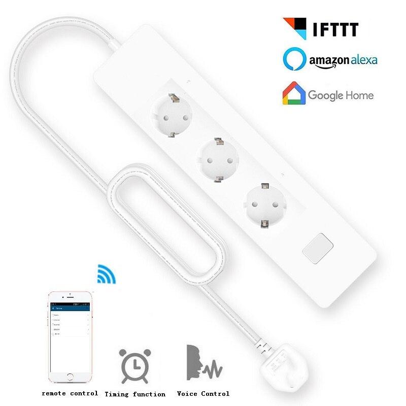 Prise d'extension de bande d'alimentation intelligente Wifi 3 prises EU/UK prise 4 ports de charge USB synchronisation App commande vocale travail