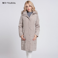 MS VASSA Ladies Parkas Winter 2017 New Long Jackets Women Autumn Classic Coats Detachable Hood With