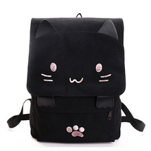 fashion Laptop Backpack Cute Cat Embroidery Canvas Student bag Cartoons Women Backpack Leisure School bag blackπnk(China)