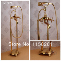 Free Shipping Bathroom Gold Floor Stand Faucet Telephone Type Bath And Shower Mixer Brass Shower Set