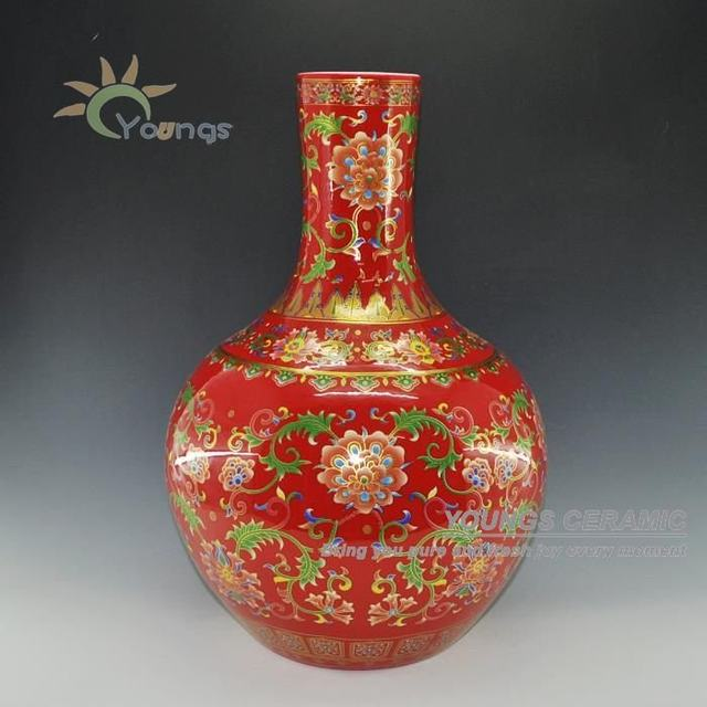 Online Shop China Red Porcelain Gold Flower Ceramic Vase With 55 Cm