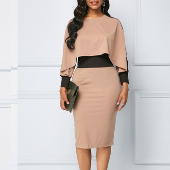 Winter Autumn Dress Women 2019 Casual Plus Size Slim Office Bodycon Dresses Elegant Vintage Sexy Split Patchwork Party Dress 5XL 3