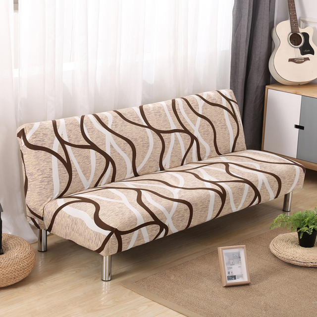 Pu0026M Checkered Lines Print Stretch Sectional No Armrests Sofa Covers  Polyester Fabric Soft Slipcovers Elastic Couch