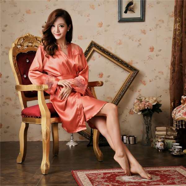 Two piece Nightwear satin dressing gown robe Nightgown Tracksuit ...