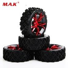 4Pcs/Set 1/10 Rubber Rally Tires&Wheel 6mm Offset 12mm Hex For HSP HPI RC 1:10 Off Road Car MPNKR/PP0487