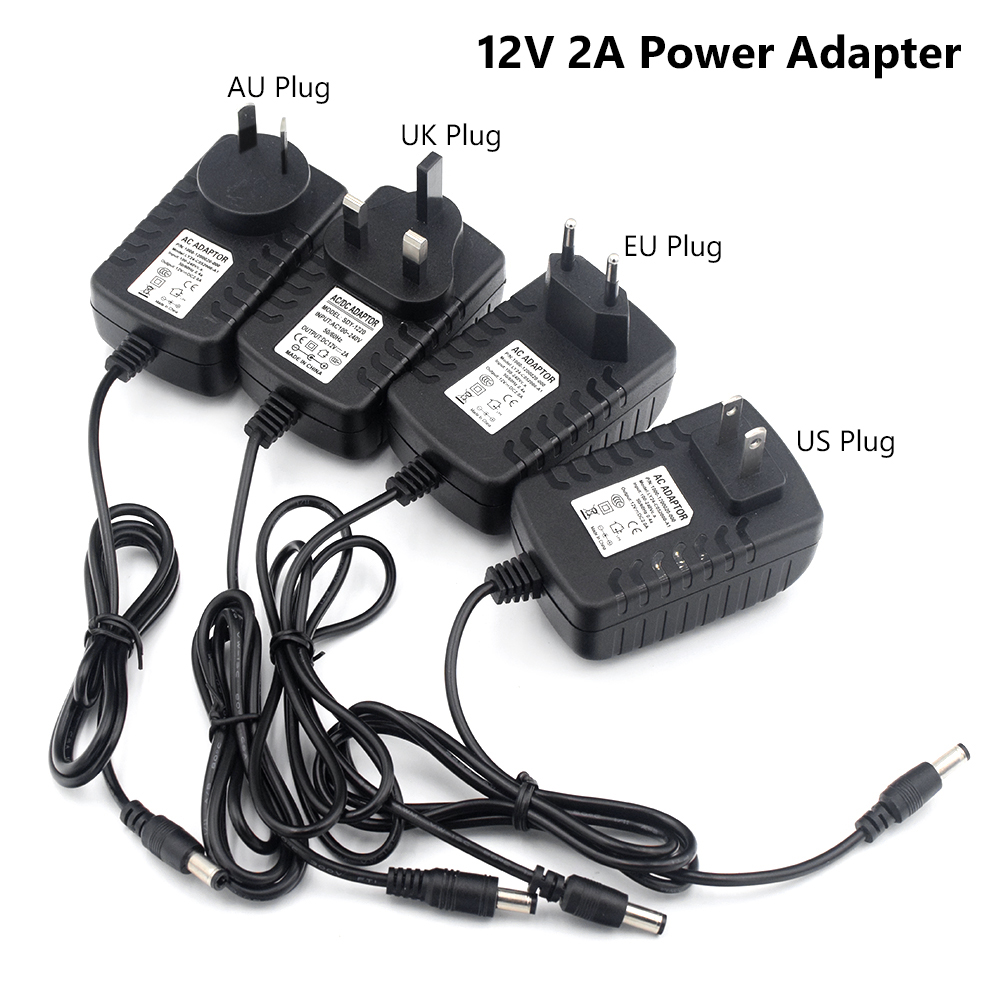 TSLEEN 5V <font><b>12V</b></font> 24V 1A <font><b>2A</b></font> 3A <font><b>AC</b></font> <font><b>DC</b></font> <font><b>Adaptor</b></font> US/UK/EU/AU Plug Power Adapter Universal Charger Supply for Led Light Strip Lamp Driver image