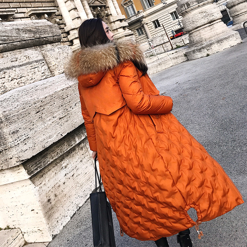 Real raccoon dog fur collar fashion winter white duck down coats outerwear women down jackets 2018 autumn new arrival