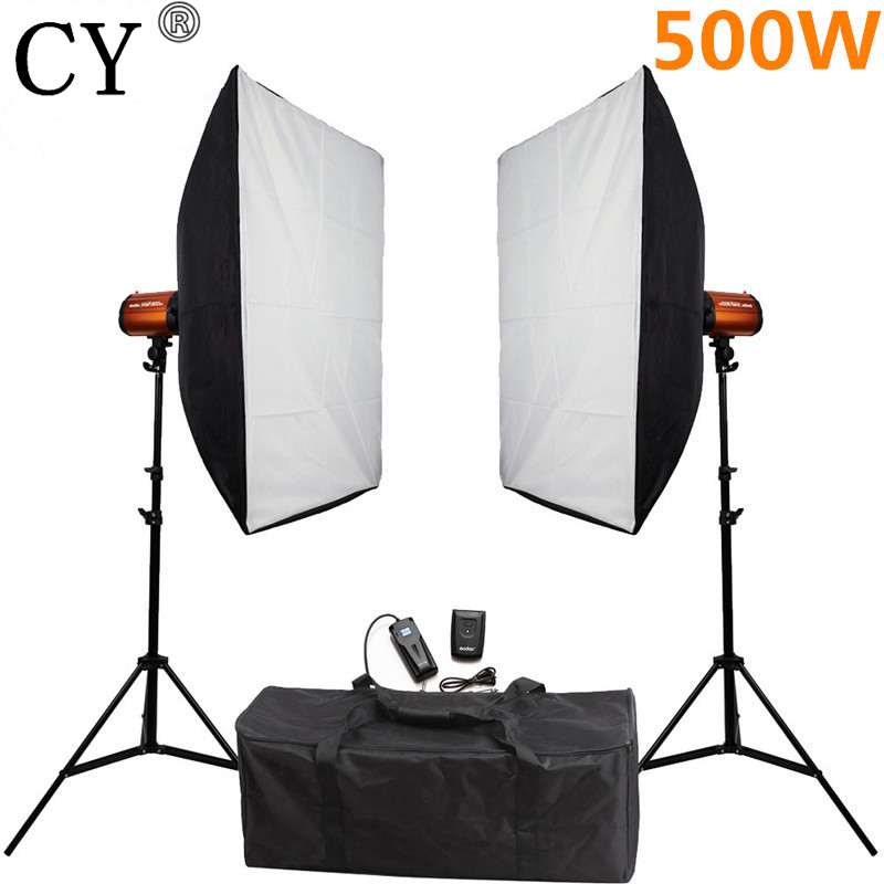 CY Photography Studio Soft Box Flash Lighting Kits 500ws Storbe Light+Softbox+Stand Photo Studio Equipments Godox Smart 250SDI
