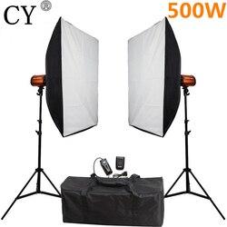 CY Photography Studio Soft Box Flash Lighting Kits 500ws Storbe Light+Softbox+Stand Photo Studio Equipments Godox Smart 250SDI