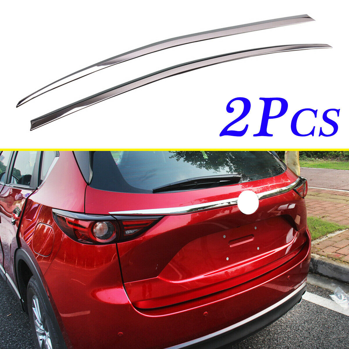 2pcs Chrome ABS Tailgate Rear Truck Stripes Cover Trim Fit For <font><b>Mazda</b></font> CX5 <font><b>CX</b></font>-5 KF <font><b>2017</b></font> 2018 <font><b>2019</b></font> Accessories Exterior Molding image