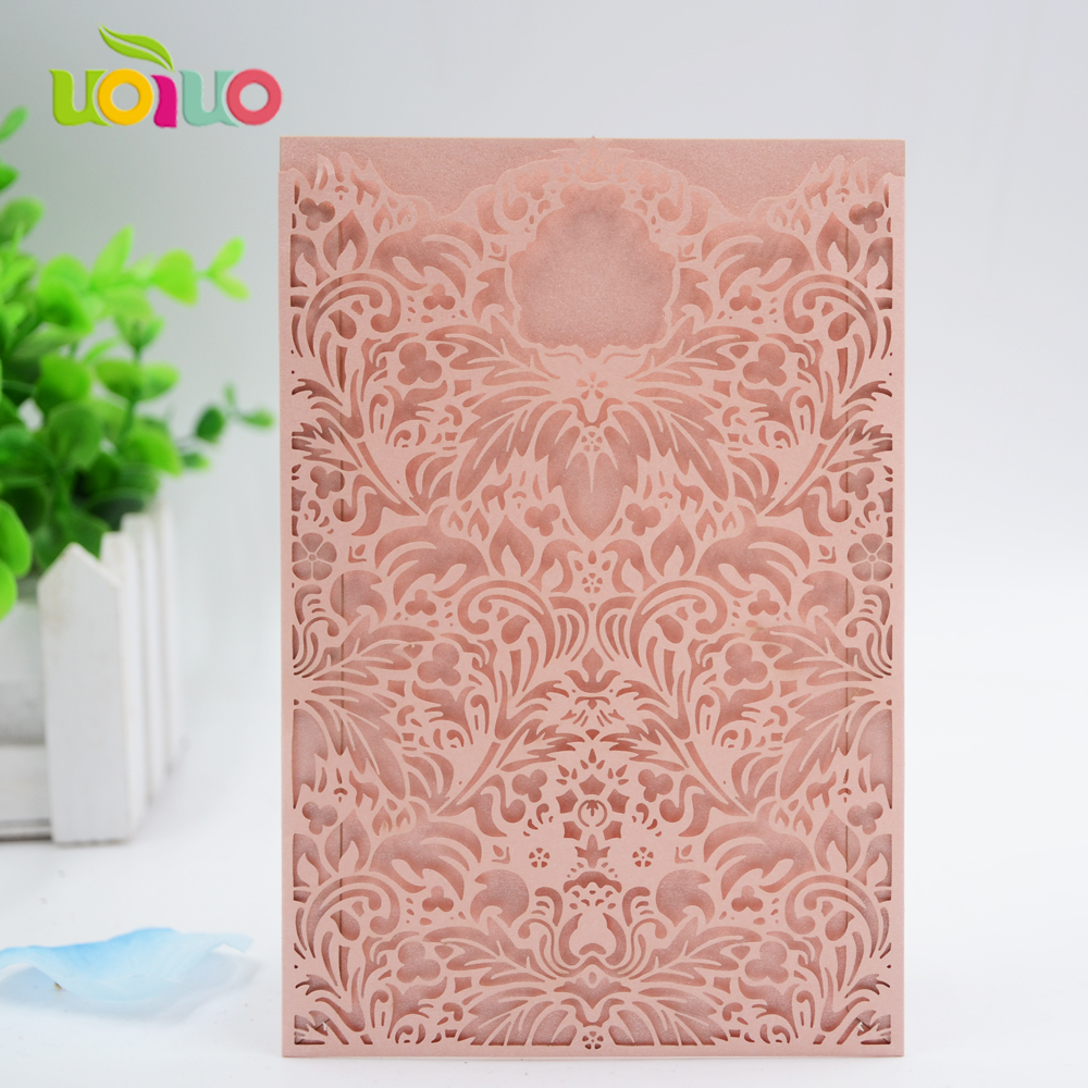 Us 65 0 Blush Pink Lace Pocket Wedding Invitation Card Wholesale Price Fantastic Unique Wedding Cards Design In Cards Invitations From Home