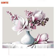 groenachtig lelie bloem foto DIY digitale olieverfschilderij bloemen home decor kunst aan de muur kamer decoratie katoen schilderen op nummers
