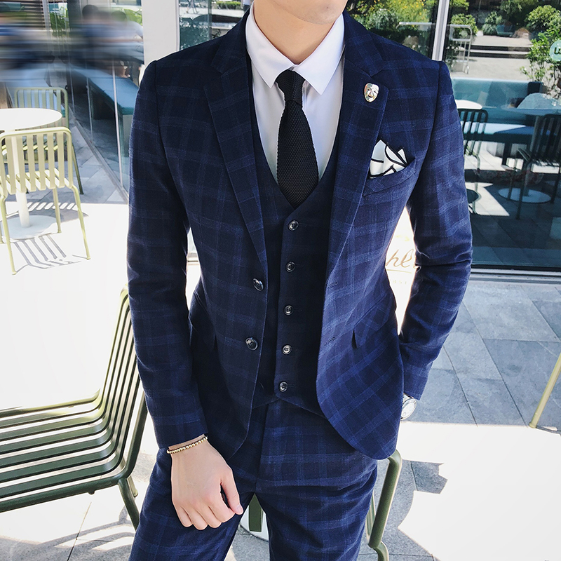 3 Pieces Mens Suits Plaid Slim Fit Wedding Suits Groom Tweed Wool Tuxedos for Wedding Jacket Pants Vest in Suits from Men 39 s Clothing