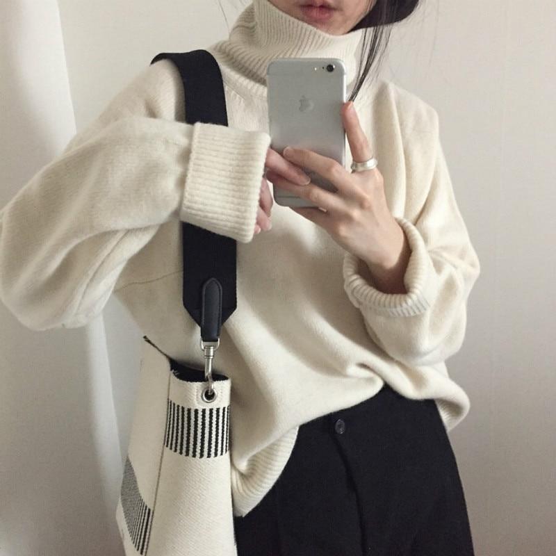 Women Autumn Winter Sweater Jumper Cashmere Knitted Pullover Tops Turtleneck Elegant Slim Plus Size Oversized Pull Femme Hiver