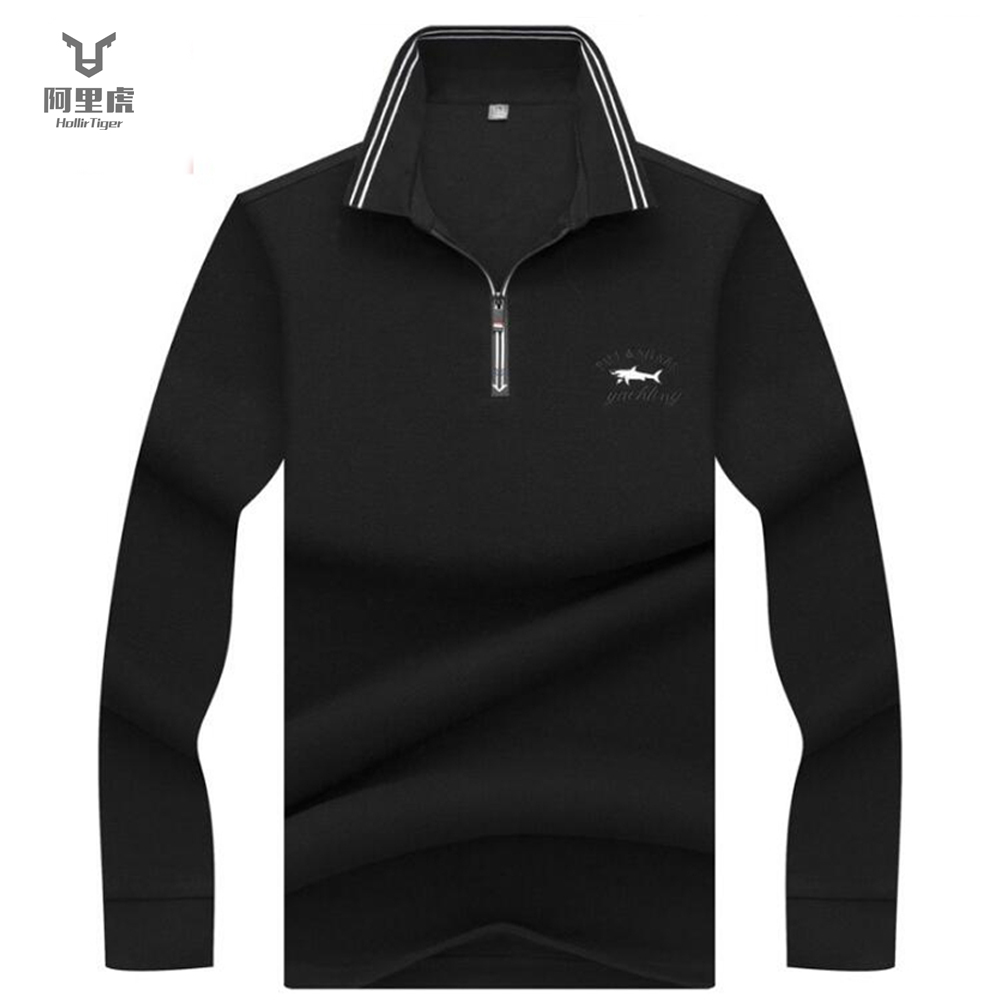 Hollirtiger   Polo   Shirt Men Zipper Fish Embroidery Long Sleeve 100% Cotton Solid   Polo   Homme Breathable Casual Men's   Polo