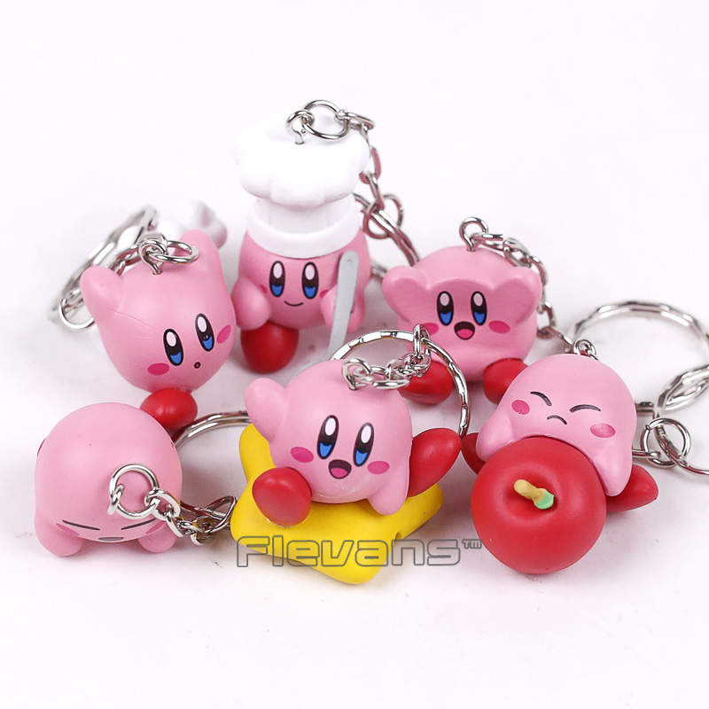 Kirby Popopo Mini PVC Figures Toys with Keychain Pendants 6pcs/set 4cm goki wooden traditional toys clock bears mini bead frames floating ball press and shake figures top with pull out string