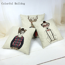 Lovely Cushion Cover Chinese Style Dog Deer Pillow Cases Living Room 45*45cm Linen Home Car Seat Decor Sofa Summer Fundas Cojin