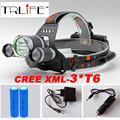 10000LM LED Headlamp 3x CREE XML T6 4 Modes Rechargeable Headlight Head Lamp Spotlight For Hunting+Charger(US EU AU)+2 PCS 18650