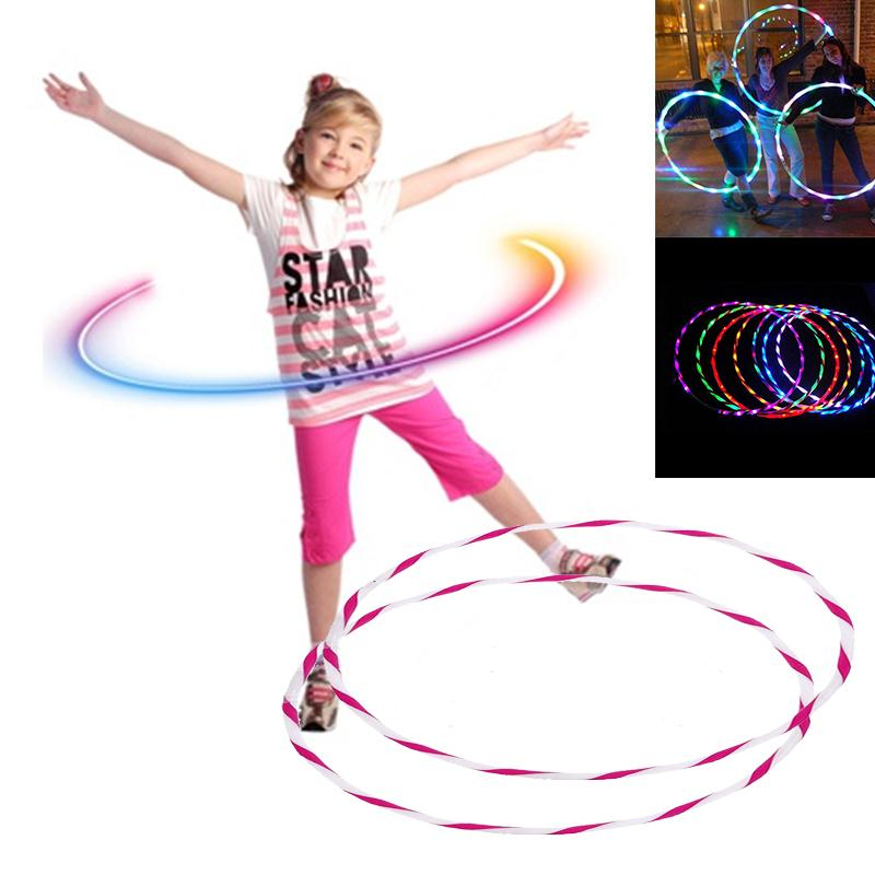 Sport Portable Equipment Fitness Circles 90cm Colorful LED Glow Hula Hoop Waist Slimming Lose Weight Healthy Life Kids Toy Gifts