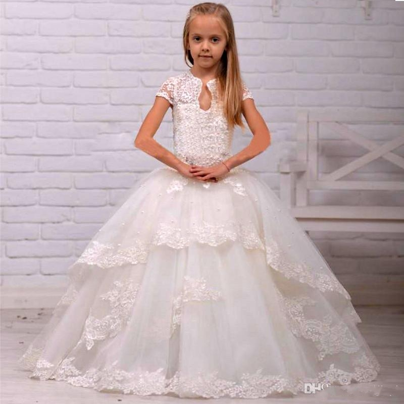 Elegant Ivory Flower girl dress Ball Gown Wedding Short sleeves lace ...