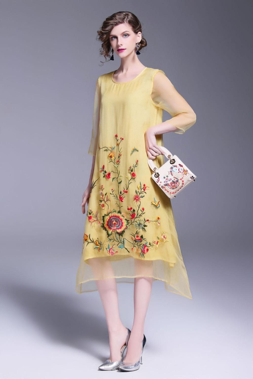 European Women Casual Sleeveless Embroidery Knee-Length A-Line Dress 2018 New Summer Lady Elegant High Waist Party Dress C632