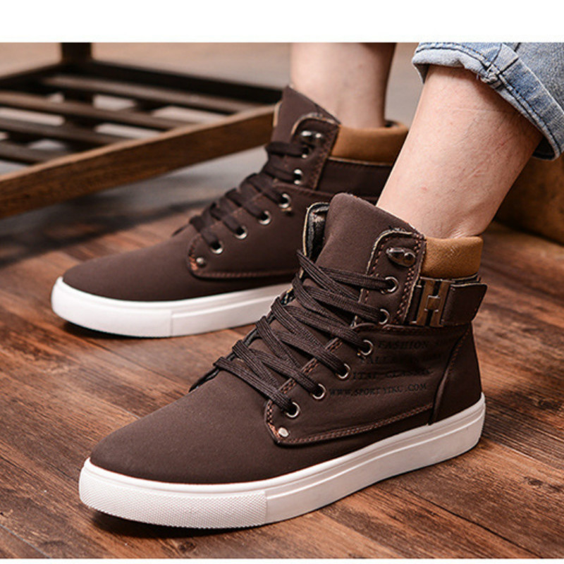 38 46 Outdoor High top Sneakers Men Casual Skateboarding Shoes Plus Size Fashion Breathable Black Sport Lifestyle Shoes for Men in Skateboarding from Sports Entertainment