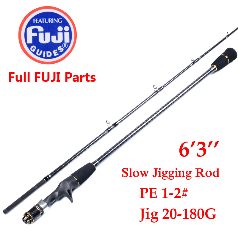 Japan gjorde 1,9m 2 Seksjon Jigging Rod Fishing Rod FULL FUJI DELER REEL SETT OG RING Jig Rod JIG 20-180g Slow Jigging Rod