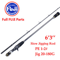 Japan made 1.9m 2 Section Jigging Rod Fishing Rod FULL FUJI PARTS REEL SEAT AND RING Jig Rod JIG 20 180g Slow Jigging Rod