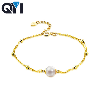 dc6ecb14cd99 QYI naturales cultivadas perla agua dulce cadena pura AU750 18 K pulsera de  oro amarillo de alta calidad de joyería PERLA para señora boda
