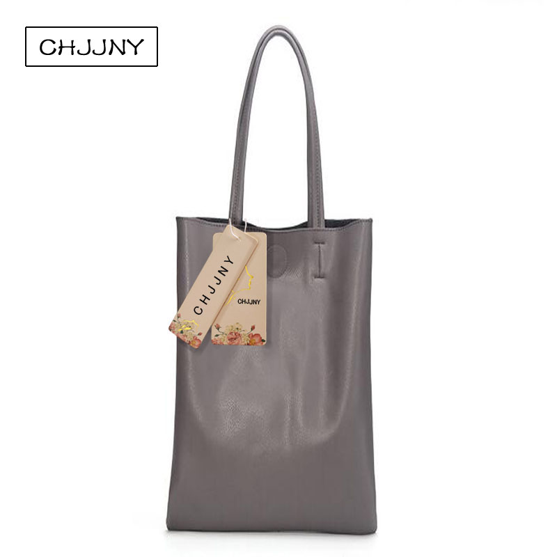 ФОТО CHJJNY 2017 newest simple style genuine leather women large tote bags fashion single shoulder bag