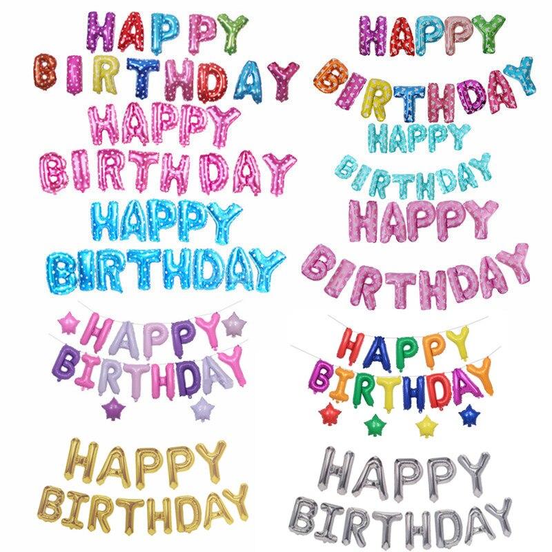 16 Inch Happy Birthday Balloons Party Dekoration Buchstaben Alphabet Aluminium Helium Ballon Folie Baby Kinder Air