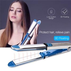 Image 1 - Профессиональные щипцы для выпрямления волос щипцы для завивки Nano Titanium плоский керамический Утюг для волос светодиодный Электрический выпрямитель