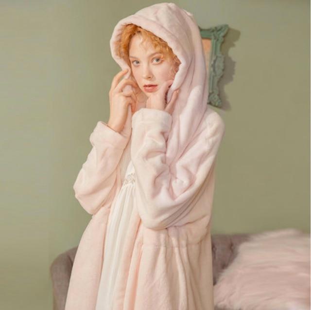 Women s Sleepwear Robe Warm Hooded Flannel Pajamas.Winter Shower Spa Robes  Night Bathrobes Sleep Nightgown 10d832b1f