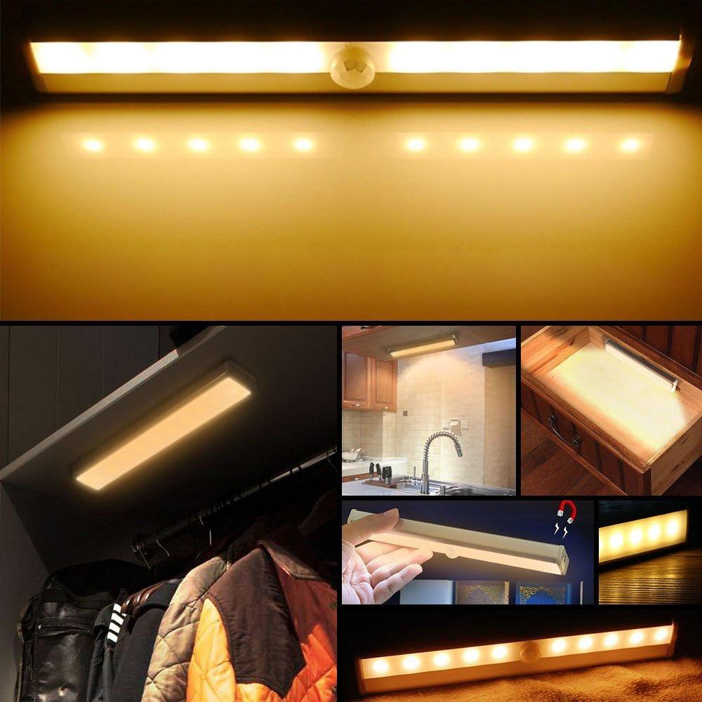 10LED USB Rechargeable Motion Sensor Night Light 8