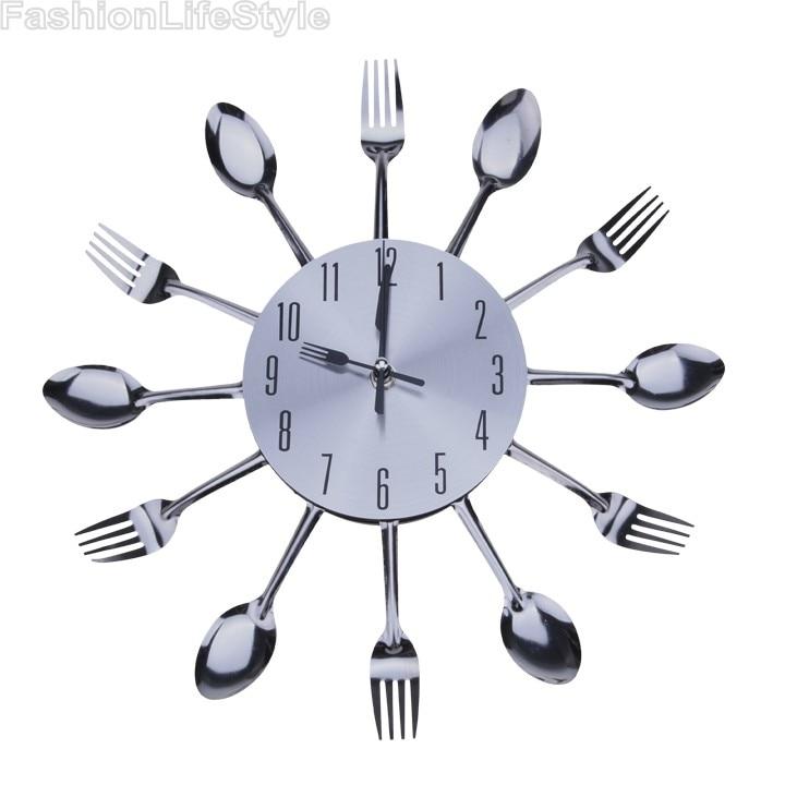 Cool Stylish Modern Design Wall Clock Silver Kitchen Cutlery Utensil Vintage Design Wall Clock Spoon Fork Home Decor 30