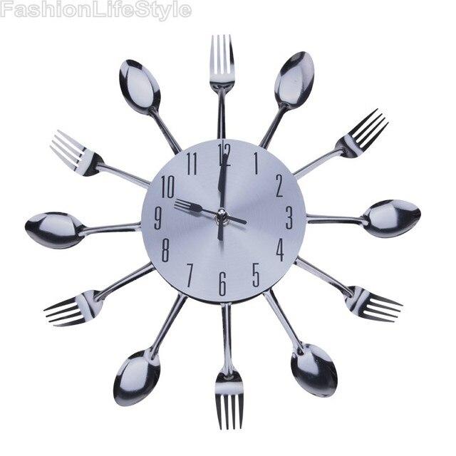 Fresco Con Estilo de Diseño Moderno Reloj de Pared de Plata Cuchara ...