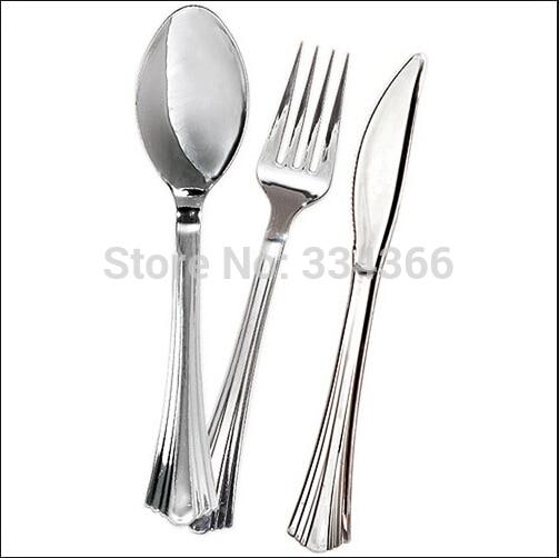 300db / tétel Eldobható műanyag esküvői evőeszközkészlet - Konyha, étkező és bár - Fénykép 2