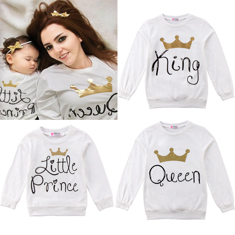 Pudoco Family Sweatshirt Pullover Long Sleeve Tops King Queen Little Prince Little Princess telle mère telle fille vetement