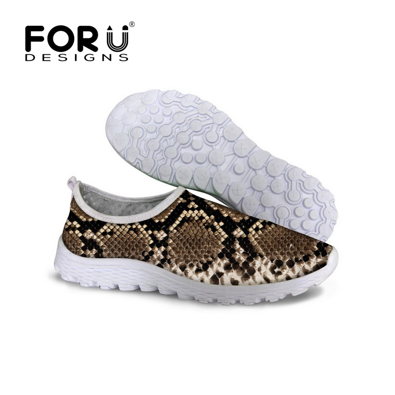 FORUDESIGNS Summer Casual Mesh Shoes for Women Ladies Flats Zapatillas Deportivas Mujer Snake Leopard Printing Shoes Slip-on forudesigns cartoon shark print women flats shoes sneakers casual women s summer mesh shoes beach girls loafers slip on zapatos