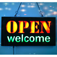 New OPEN WELCOME LED Neon Sign WhiteBoard LED Business OPEN SIGN Animated Motion DISPLAY On Off