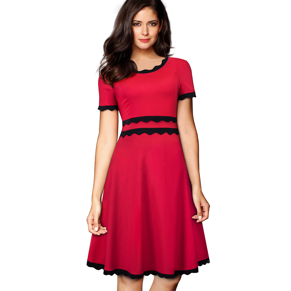 Summer Women Solid Short Sleeve Black-Wavy Edge Casual Dress O-Neck Knee-Length Fit and Flare A-line Dress EA094